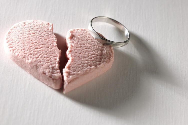 割れたハートと指輪